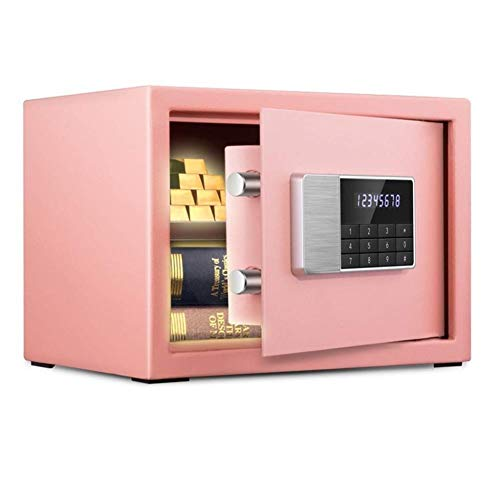 GGDJFN Safes Security Double-Layer Safe Cabinet Safes For ID Papers, A4 Documents, Laptop Computers, Jewels - 35 * 25 * 25cm (Color : Pink)
