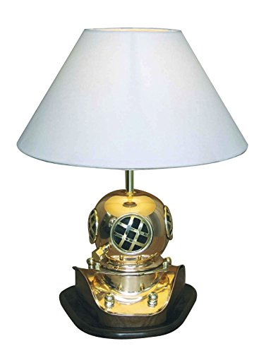 Tisch-Lampe Taucherhelm Messing H 59 cm