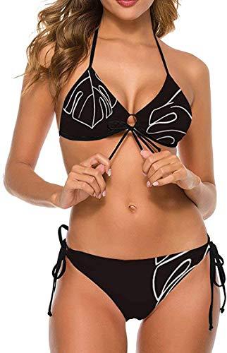 Bikini Badeanzug für Frauen Sexy Bikinis Badeanzug Hoch taillierte Bikini Badeanzüge Bikini Anzüge Weiße Blätter Tropische Pflanzen Schwarz Style Small