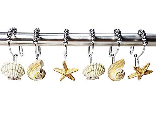Sport Tent-12 Stück Duschringe Duschvorhangringe Edelstahl Aufhängeringe dekorative Seestern und Muscheln Duschvorhang Haken für Badezimmer (A)