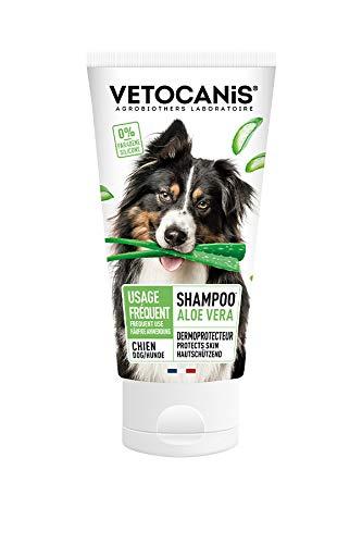 Vétocanis - Shampooing Dermoprotecteur pour Chien Usage Fréquent - Extrait d'Aloe Vera Hydratant - 0% Silicone 0% Parabène - Made in France - 300 ml