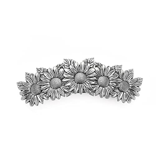 Amaxer Viking Gold Silver Barrettes for Women Girls Celtic Hair Clips for Thick Thin Hair Vintage French Hair Clips Hair Styling Accessories(Silver-Sunflower)