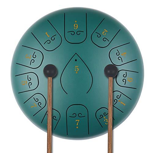 KUD 12 Zoll 13 Tone ätherische Trommel Schlagzeug Instrument, Tongue Drum,Steel Pan Töne Schlaginstrument Hand Pan Drum mit Trommelschlägeln Tragetasche Note Sticks für Meditation Yoga Klangheilung
