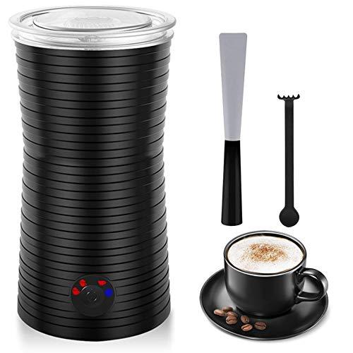Espumador Batidor de Leche Calentador Eléctrico Automático, 400W Espuma Leche Caliente/Fría, 4 Modos para Café Macchiato Latte Cappuccino, Con Cepillo de Limpieza y Cuchara de Silicona (115-240ml)