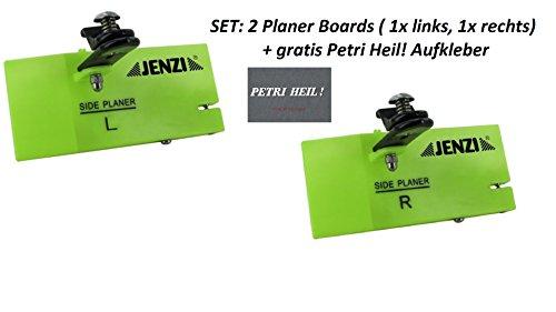 Set: 2 Stück Jenzi Side Planer , ca 14x6cm, Planer-Board+ gratis Petri Heil! Aufkleber
