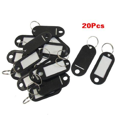 20 Pcs Key ID Label Tags Split Ring Keyring Keychain Black