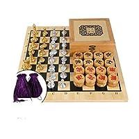 子供と大人のためのナチュラルバンブーチェスセット高級チェスセットラージチェスボードゲームセットゲーム専用チェスセット(色:D)