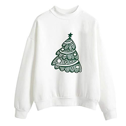 VEMOW Heißer Herbst Winter Damen Frauen Weihnachten Tag Drucken Langarm Damen Bluse Pullover Täglichen Party Freizeit Tops Shirt Sweatershirt(Weiß 19, 40 DE/XL CN)