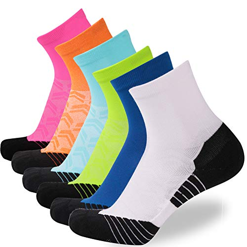 NIcool Men's Athlteic Ankle Socks, Outdoor Sports Performance Cuhshioned Quarter Running Crew...