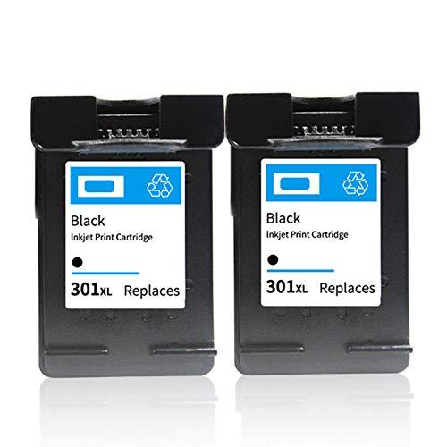 Reemplazo para tinta HP 301XL, (2 negras) actualizado con pantalla de nivel de tinta, funciona con cartuchos de impresora 1000 1050 2000 2050