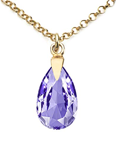 GIFTBOXED! Ah! Jewellery Women's 16mm Tanzanite Crystals From Swarovski Pear Necklace With A 45cm Long Anchor Chain. Finished in 24K Gold Over Sterling Silver. Stamped 925.