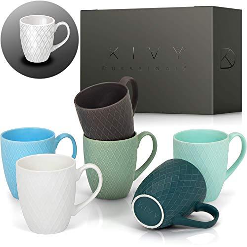 KIVY® Kaffeetassen 6er Set [400 ml] Tassen groß - Hochwertige Kaffeetasse mit großem Henkel - Kaffeebecher Set aus massiver Keramik - Tasse groß - Tassen Set für Kaffee & Tee - Teetassen Set