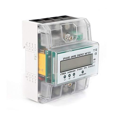 Digitaler 3-Phasen Stromzähler HaroldDol Drehstromzähler Vierdrahtzähler 230V/400V 100A mit LCD-Display für DIN Hutschiene