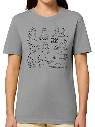 Bio-Shirt Yoga - Yoga Cats - Yogaübungen Einer Katze - Witziges T-Shirt Für Alle Yoga- / Katzenliebhaber - Printed In Germany – 100% Bio-Baumwolle