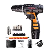 Cordless Drill Driver Kit 12V Li-Ion Battery 30Nm Torque 18 Clutch 3/8' Keyless Chuck Variable Speed High Speed/Low Speed Switch Electric Screw Driver