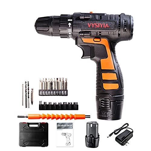 """Cordless Drill Driver Kit 12V Li-Ion Battery 30Nm Torque 18 Clutch 3/8"""" Keyless Chuck Variable Speed High Speed/Low Speed Switch Electric Screw Driver"""