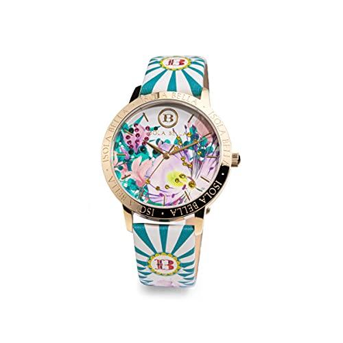 Reloj Isla Bella Flores de Cappero de acero, piel y circonitas 40000039