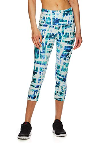 Reebok Women's Capri Workout Leggings w/High-Rise Waist - Cropped Performance Compression Tights - Printed Highrise Bermuda, Small