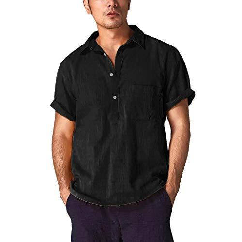メンズ トップス 大きいサイズ Monikall(モニカル) シャツ メンズ 半袖 リネン ポロシャツ 無地 ボタン tシャツ ポケット付き カジュアル 柔らかい プルオーバー 春夏 薄手 通気性 人気 トップス 通勤 おしゃれ トレーナー 大きいサイズ シンプルスタイル ビジネス ティーシャツ(ブラック,L)