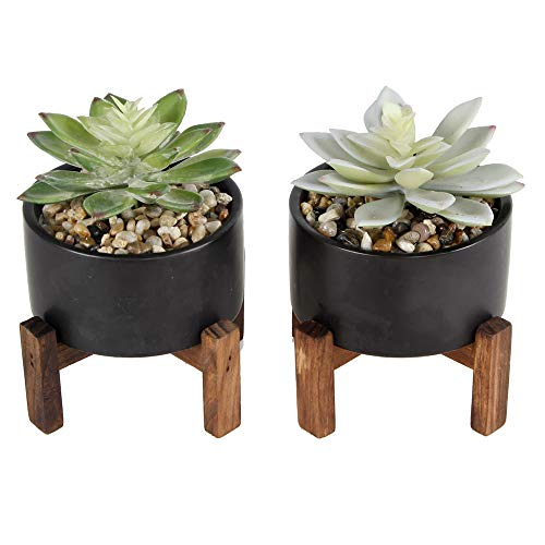 Flora Bunda Artificial Plant Artificial Succulent in Ceramic Planter with Wood Stand Pot for Desk, Office, Living Room, and Home Decoration, 4 Inch Mid Century,Set of 2,Black