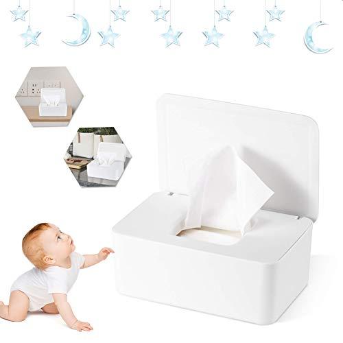 Feuchttüchter Box Feuchtes Toilettenpapier Box Baby Tücher Fall Feuchttücher Box Baby Tissue Aufbewahrungskoffer mit Deckel für Zuhause und Büro (Weiß)
