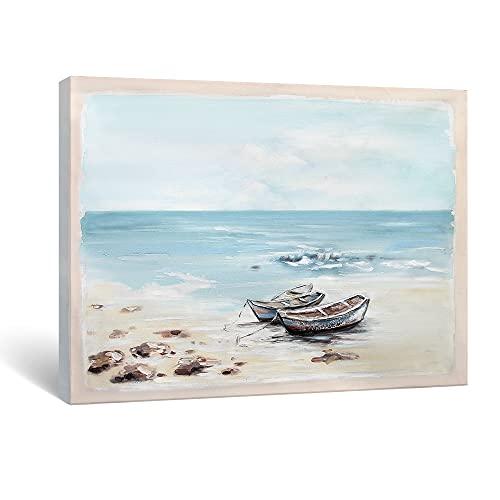 SUMGAR Cuadro de barco azul mar mar mar obra de arte hecha a mano grande rural para comedor salón 81 x 101 cm