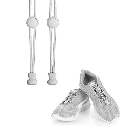 KATELUO Elastische Schnürsenkel mit Schnellverschluss Schnellschnürsystem ohne Binden für einzigartigen Komfort, perfekten Sitz und starken Halt (grau)