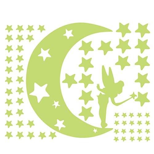 Aufkleber Fluoreszierende Wandtattoo Wanddeko Wandsticker Leuchtsterne Punkten und Mond Wandsticker Wandaufkleber DIY für Schlafzimmer Jungen Mädchen Kinderzimmer