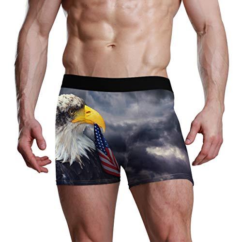 Bald Eagle American Flag Herren Boxershorts Bequeme weiche Unterwäsche kreatives Muster S Gr. M, Mehrfarbig