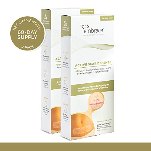 Embrace Scar Treatment, Silicone Sheets for New Scars with Active Scar Defense, Extra Large 6.3 Inch Sheets, 60 Day Supply (Recommended Treatment)