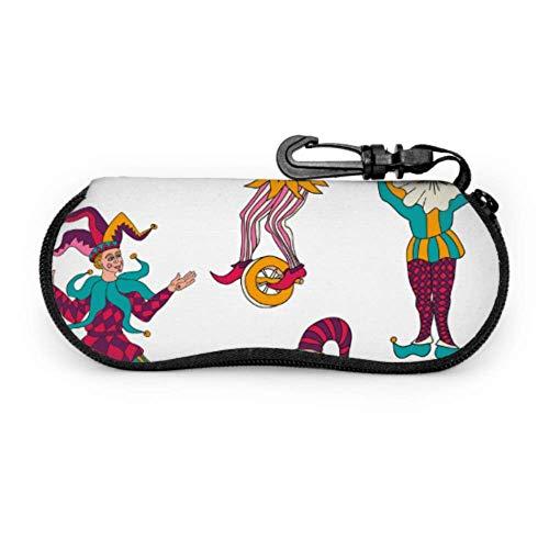 Fundas de gafas Divertido payaso de circo portátil Ultra Ligero Neopreno con Cremallera Almacenaje Lente Suave Sunglasses Case 8 * 17cm