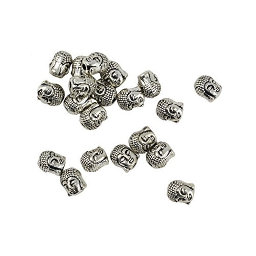 IPOTCH Pack of 20 Loose Beads for Jewelry Making 3D Buddha Head Amulet Charms Jewelry Making
