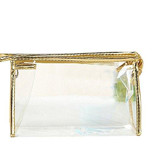 Gespout Trousse de Toilette en Plastique doré Transparent Étanche
