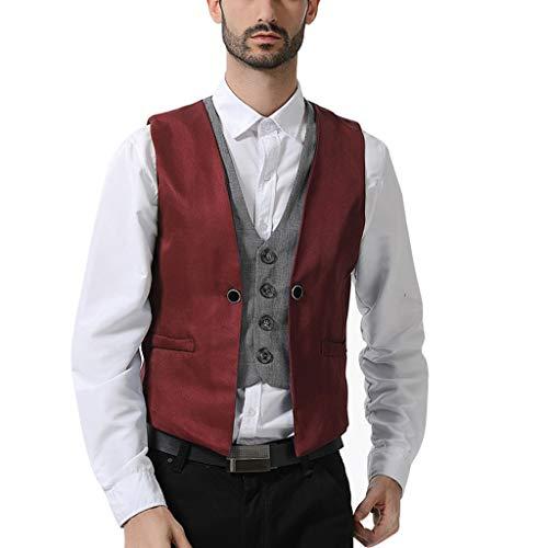HHyyq Herren Business Reine V-Ausschnitt Weste Fashion Bräutigam formelle Weste Langarmshirt Leinenhemd Gestreiftes T Shirts Männer Langarm Henley Shirt(rots,S)