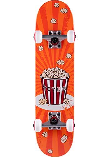 TITUS Skateboards-Complete Popcorn Micro Kids, orange, 6.5, Komplett Board, Holzboard aus 6 Schichten Ahornholz, bereits fertig montiert, Skateboard für Kinder, Anfänger, Mädchen und Junge, Skateboard