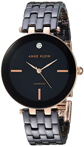 Anne Klein AK Reloj de Pulsera de cerámica con Detalles de Diamante para
