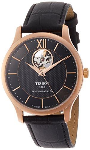 Tissot Reloj de hombre automático correa de cuero dial blanco T0639073606800