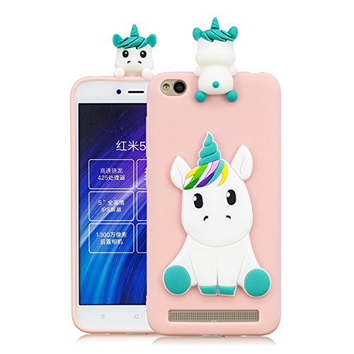 HopMore Funda para Xiaomi Redmi 5A Silicona Dibujos Panda Unicornio Divertidas TPU Gel Kawaii Ultrafina Slim Case Antigolpes Caso Protección Flexible Cover Design Gracioso - Rosa Unicornio