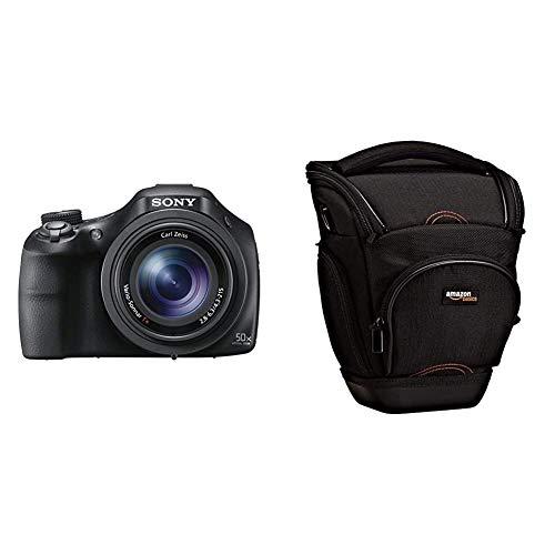 Sony DSC-HX400V Digitalkamera (20.4 Megapixel, 50-fach opt. Zoom, 7,5 cm (3 Zoll), WiFi/NFC) schwarz & AmazonBasics SLR-Schultertasche (schwarz)