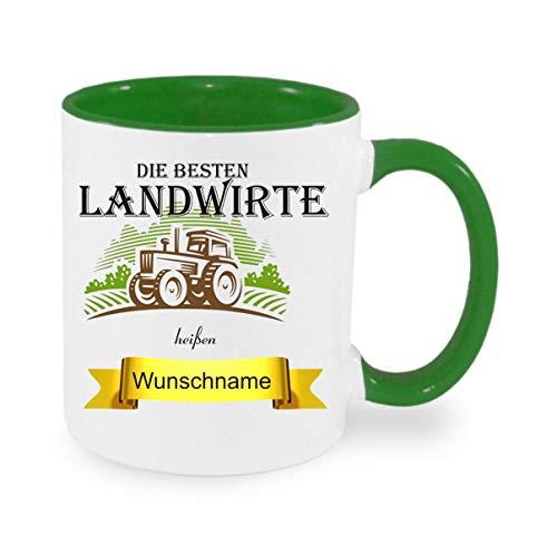 crealuxe Tasse m. Wunschname Landwirte heißen. Wunschname - Kaffeetasse mit Motiv, Bedruckte Tasse mit Sprüchen oder Bildern