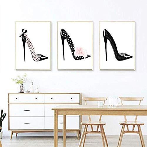 lcyqq DREI Typ High Heel Schuhe Fashion Style Poster an der Wand wasserdichte Leinwand Malerei Wandkunst Schuhgeschäft Dekoration Schuhschrank Dekoration Ungerahmt