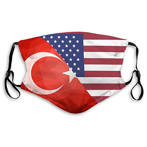 Great Features Of DISGOWONG Unisex Mouth Shield Turkey Flag Abstract Polygon Background Polyester Co...