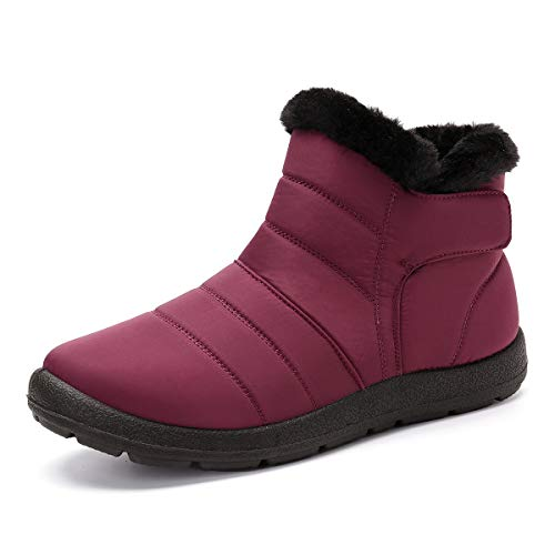 gracosy Warm Snow Boots, Winter Warm Ankle Boots, Fur Lining Boots, Waterproof Thickening Winter Shoes for Women Red 7.5 M US
