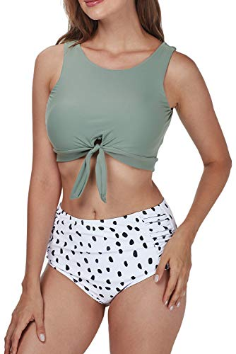 HIFUAR Women's Bikini Set Knot Hem Top with High Waisted Ruched Panty Bathing Suits Two-Piece Swimsuits Dark Green