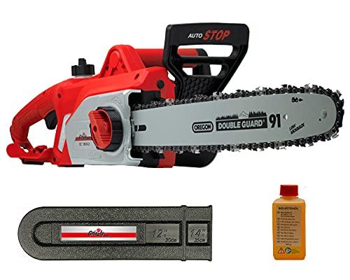 Grizzly Tools Elektro-Kettensäge mit Metallgetriebe (35 cm Schnittlänge, OREGON Schwert und Kette, Kettenschnellspannung, autom. Kettenschmierung, Kabelzugentlastung, Kettenbremse, inkl. Kettenöl)