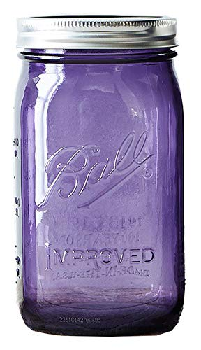 Ball Jar with Lid and Band - Pick Your Size and Color (Purple, Wide Mouth Quart - 32 oz.)