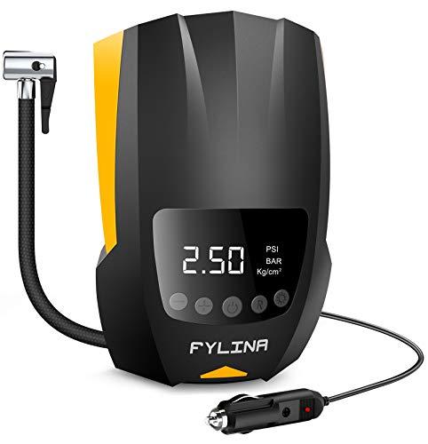 FYLINA Auto Air Compressor Tire Inflator, 12V DC Portable Air Compressor Pump, Auto Shot Off, Digital Air Pump with Led...