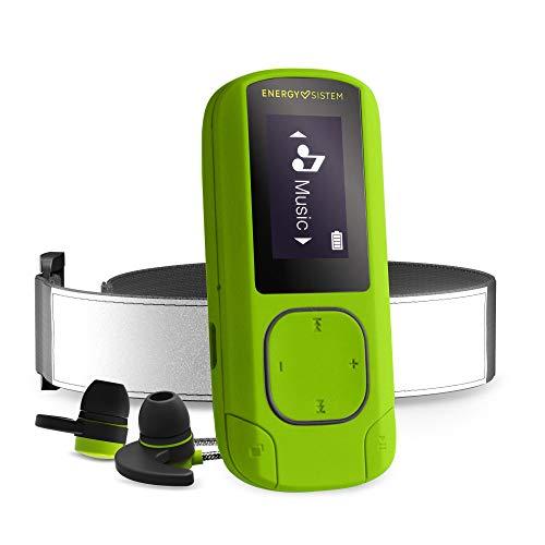 Energy Sistem MP3 Clip BT Sport Greenstone (Reproductor de música MP3, 16 GB, Radio FM, Sport Earphones, Armband, Mic)
