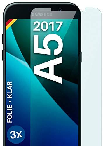 moex Protector de pantalla transparente compatible con Samsung Galaxy A5 (2017) – Protector de pantalla transparente, protector de pantalla HD, película fina resistente a los arañazos, 3 unidades