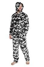CityComfort Pijamas Hombre, Pijamas Hombre Invierno Suaves, Pijamas Hombre Forro Polar Sudadera con Capucha y Pantalon, Regalos para Hombres (Gris Camo, M)